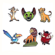 Lion king animal Zinc alloy tie pins badges para shirt bag clothes cap backpack shoes brooches medal for kids decoration E0316 цена