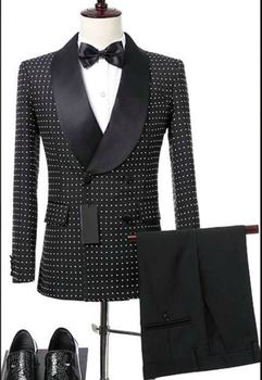 Real Photo Double Breasted Black Dot Groom Tuxedos Shawl Collar Man Wedding Dress Business Suit Sets (Jacket+Pants+Tie) W:350