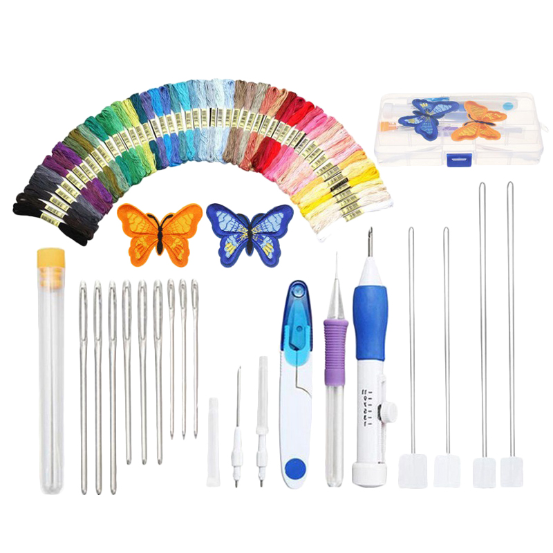 DIY Embroidery Pen Knitting Sewing Tool Kit Punch Needle Set with 50x Threads