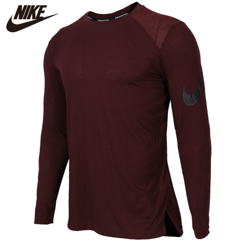 Original <font><b>NIKE</b></font> AS M NK BRTHE ELITE TOP LS 100% cotton Soft <font><b>Tshirts</b></font> Comfortabe Clothing Limited Sale image