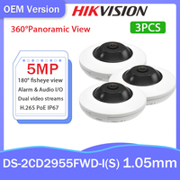 Hikvision OEM Fisheye Kamera 5MP 360 ° Panorama Ansicht DS-2CD2955FWD-IS H.265 + Audio/Alarm I/Out Unterstützung 14 display Modus POE Videcam
