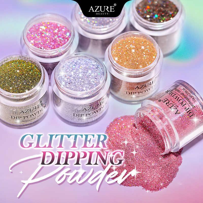 Azure Kecantikan Holographic Kerlap-kerlip Mencelupkan Bubuk Nail Art Gradien Warna Gemerlapan DIP Bubuk Glitter Mengkilap Dip Sistem Bubuk