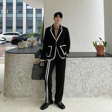 Мужские костюмы из 2 предметов(пиджак+ брюки), Мужская Уличная одежда в стиле хип-хоп, повседневный смокинг, Блейзер, пиджак, брюки, верхняя одежда