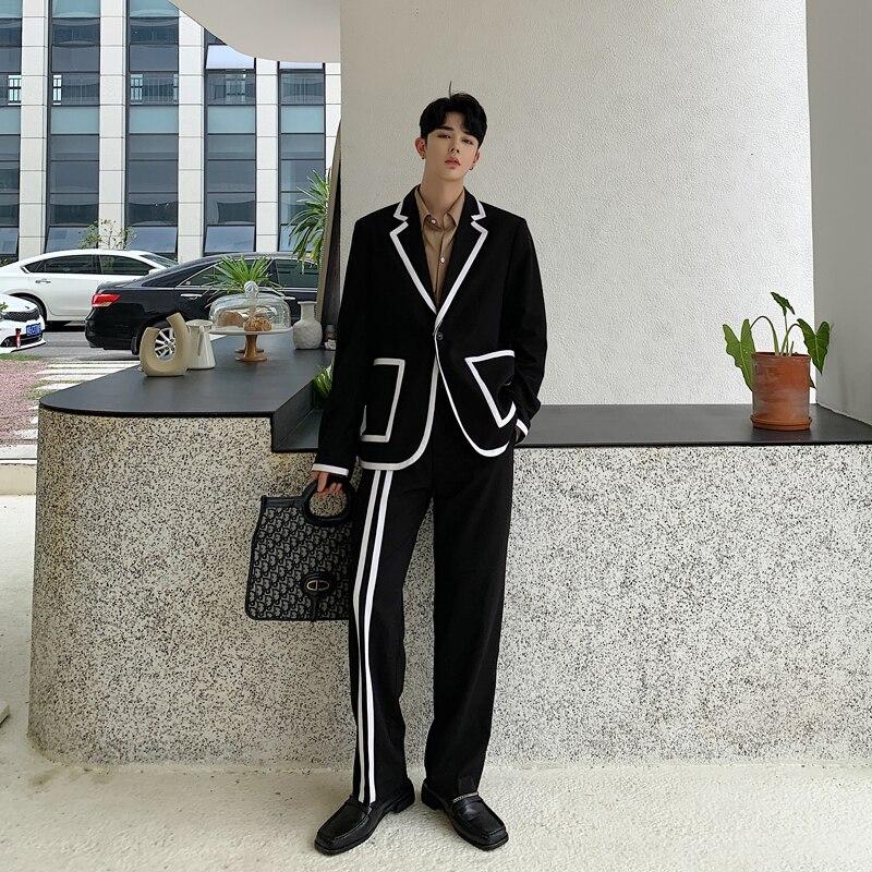 Men 2PCS Suits Sets (jacket+pant) Male Streetwear Hip Hop Stripe Splice Casual Tuxedo Blazer Suit Jacket Pant Outerwear