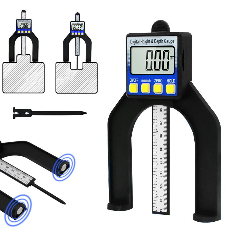 Digital Tread Depth Gauge Tester Measure Tool LCD Magnetic Self Standing Height Calipers Woodworking Router Tables Saw Measuring