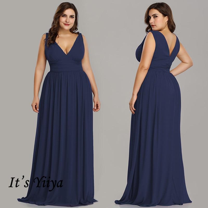 It's Yiiya Bridesmaid Dress Solid Pleat V-Neck Sleeveless Vestido Madrinha A-Line Plus Size Tank Robe Demoiselle D Honneur C434