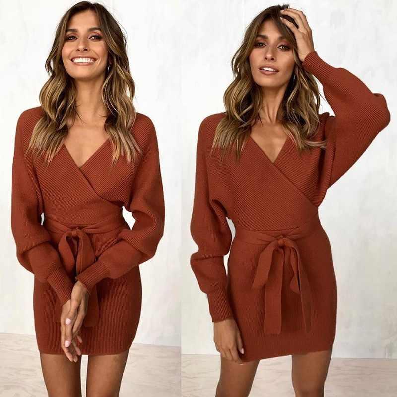 Nieuwe jurk vrouwen 2019 v-hals lace up lange mouw en najaar casual mode Europes wind womens jurken vestidos ONY0956