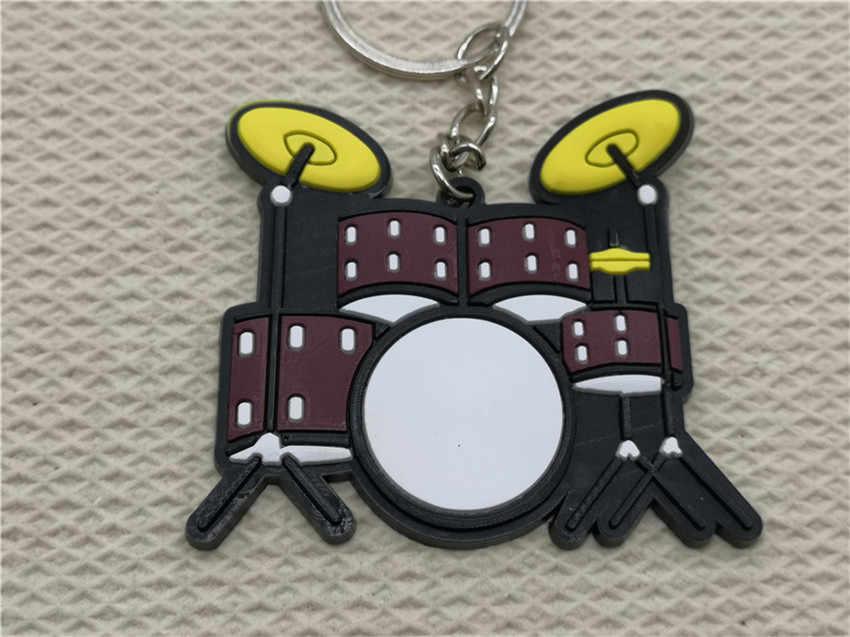 Mini Kit de tambor de silicona lindo llavero de moda de coche Pianoforte llavero instrumentos musicales colgante para hombre mujer regalo