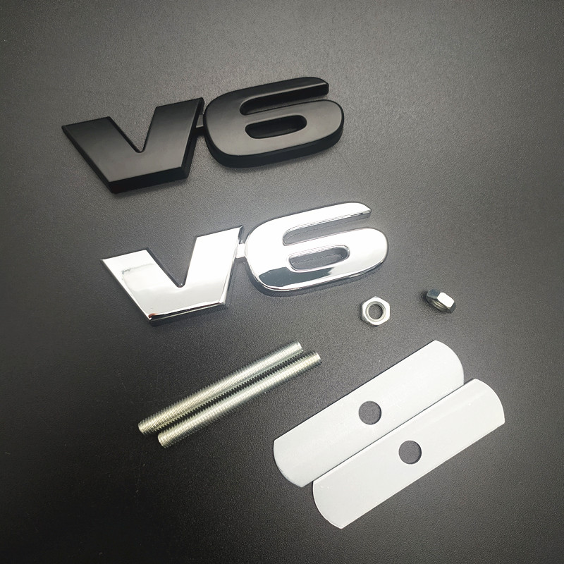 3D Chrome Metal Zinc V6 Trunk Mark Logo Refitting Car-styling Badge <font><b>Sticker</b></font> for <font><b>VW</b></font> CC Passat Magotan <font><b>Touran</b></font> Golf Polo Bora image