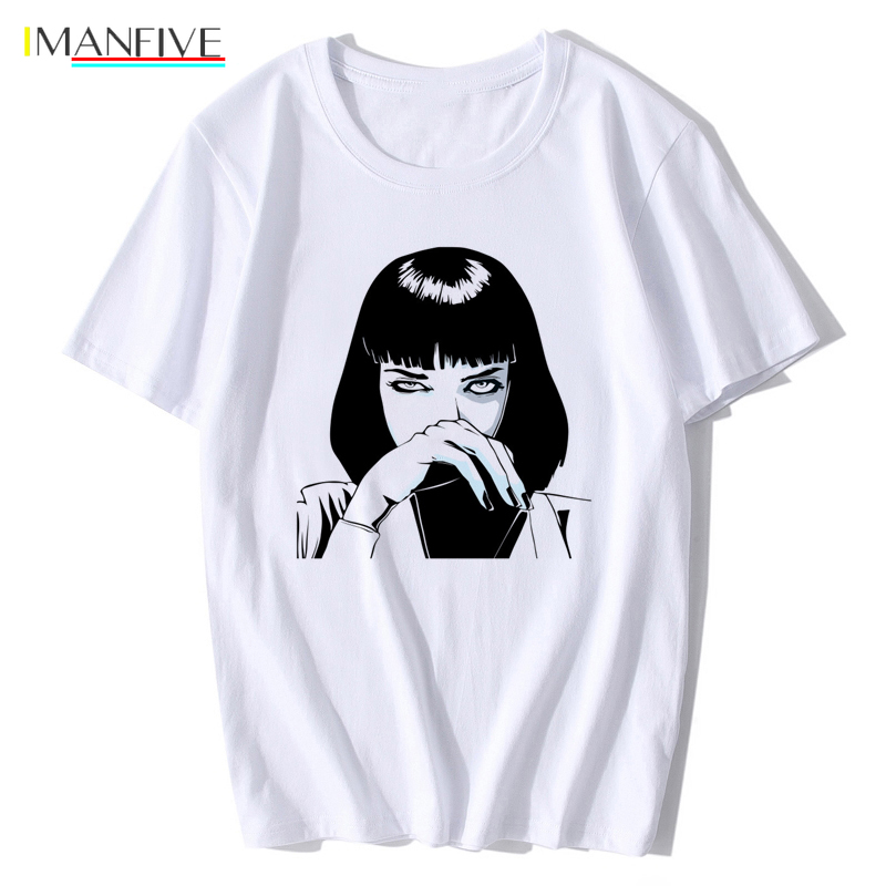 Mia Wallace Pulp Fiction T Shirt New Summer Fashion Poster 1994 Quentin Tarantino Men O neck Shoer Sleeve T shirt Tee Top XS XXL in T Shirts from Men 39 s Clothing
