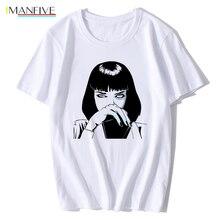 цена на Mia Wallace Pulp Fiction T Shirt New Summer Fashion Poster 1994 Quentin Tarantino Men O-neck Shoer Sleeve T-shirt Tee Top XS-XXL