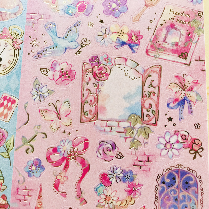 1 Sheet Kawaii Gold Foil Fairy Tales Series Stickers Hand Account Decor Notebook Decorative Stick La