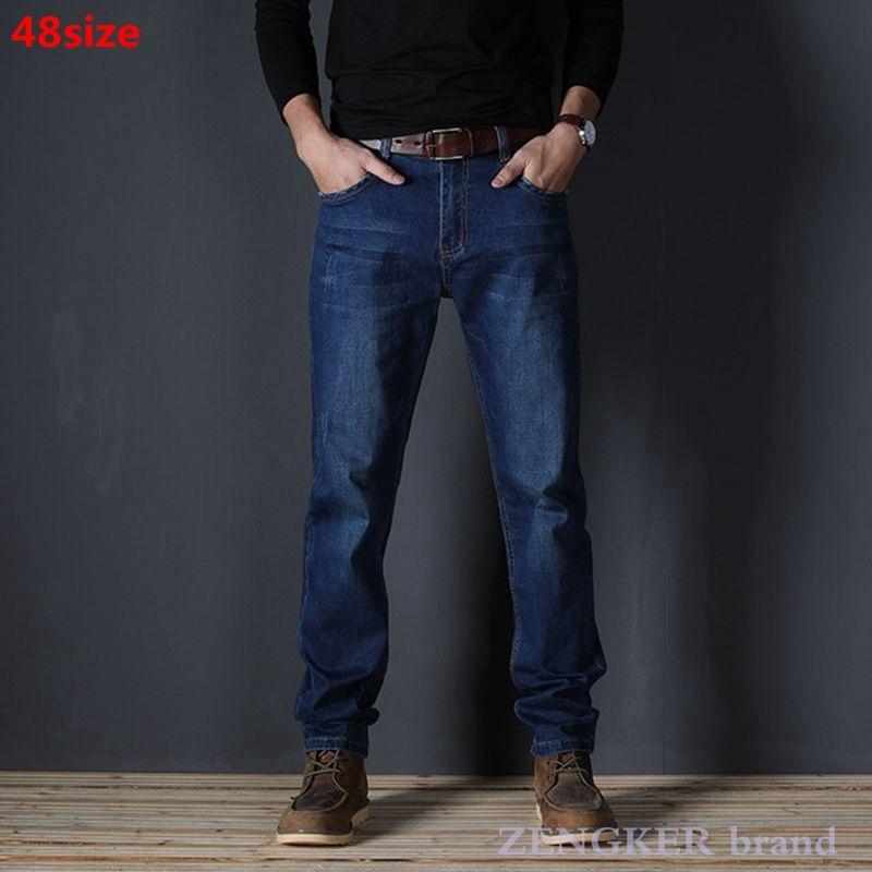 Джинсы мужские с завышенной талией, Стрейчевые синие длинные брюки-оверсайз размером 130 кг, 48 46 44 42 40 38 36, весна