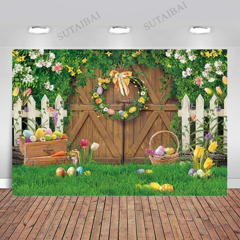 Фон на тему весны Пасхи фон деревянная дверь зеленая трава студийные фоны для фотографирования с изображением весенних цветов яйца Дети дл...