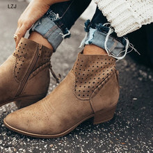 Women Shoes Retro High Heel Ankle Boots Female Block Mid Heels Casual Botas Mujer Ladies Booties Feminina Plus Size 35-43 2019(China)