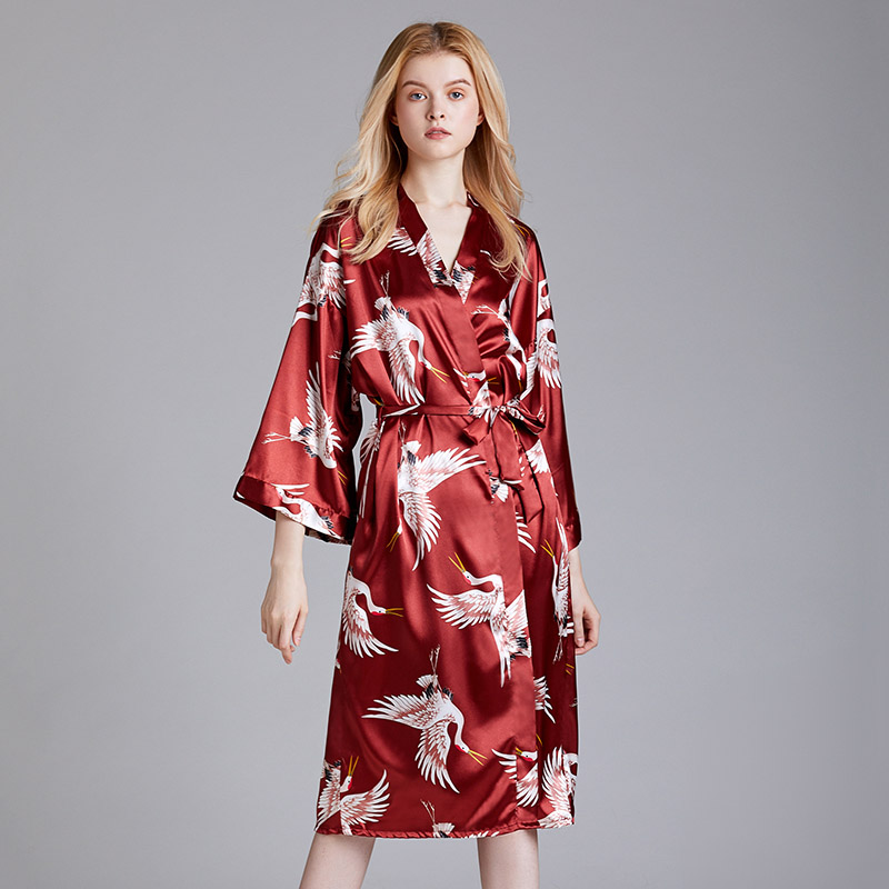New Print Kimono Robe Women Summer Casual Home Dress Nightgown Sleepwear Long Bathrobe Gown Elegant Wedding Robe Homewear