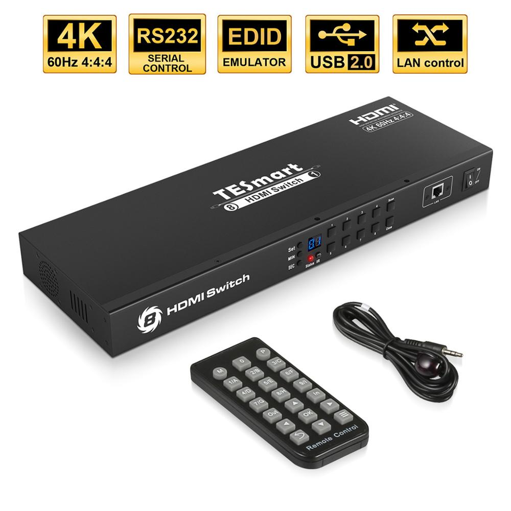 4K@60Hz 8 Ports HDMI Switch 8x1Console Rack Mount Switch USB 2.0 Switch HDMI 8 Ports Share With 8 PCs RS232 LAN Port IR Control