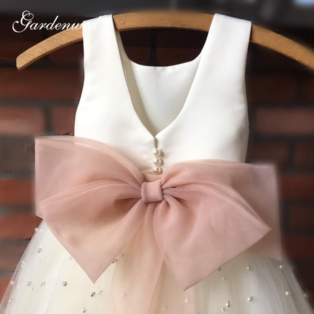 Simple Ivory Flower Girl Dresses Pearls Square Tulle Girls Beach Wedding Party Dresses Organza Bow Sashes First Communion Dress