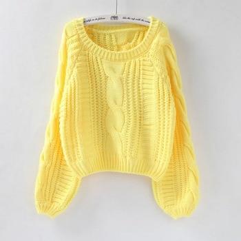 JODIMITTY HUJIN Women Pull O-Neck Sweaters 2019 Women Sweater Jumper Candy Color Harajuku Chic Short