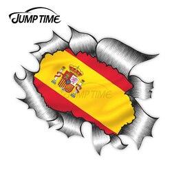 Salto tempo rasgado design de metal com espanha bandeira espanhola motivo vinil etiqueta do carro para windows pára-choques