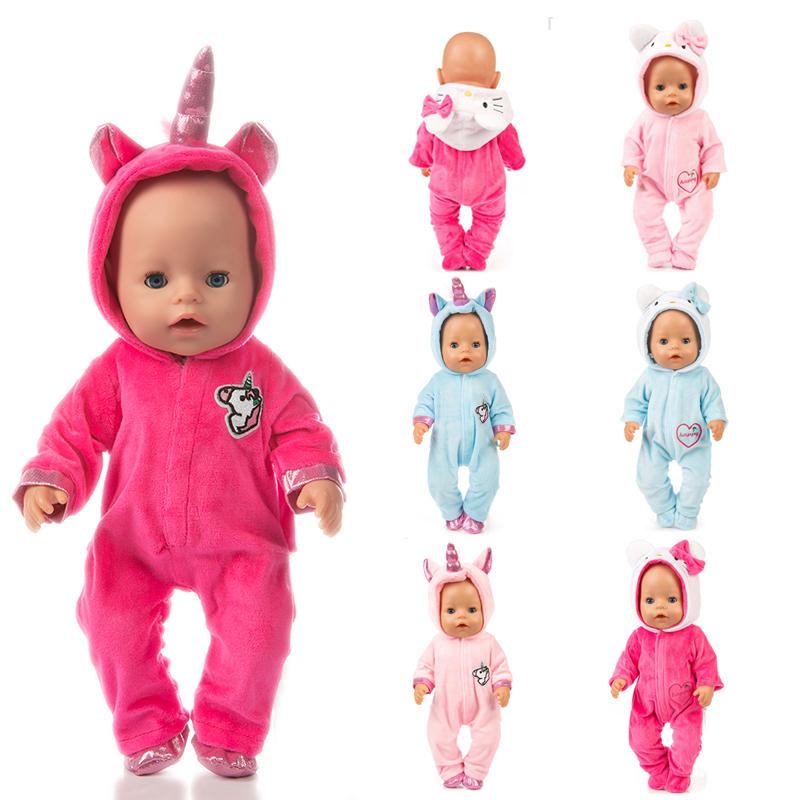 18 Inch American OG Girl Doll Clothes Pajama Set 43cm Born Baby Unicorn Kitty Pony Doll Clothes Suit Baby Birthday Festival Gift