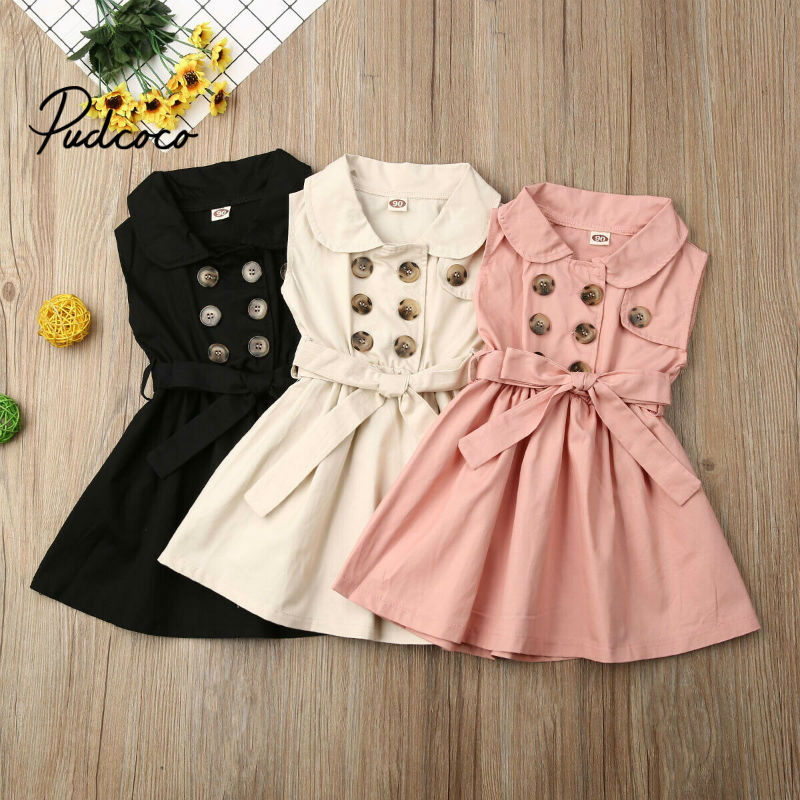 2020 Spring Cotton Baby Toddlers Kids Girl Solid Dress Sleeveless Casual Dresses Party Clothes New Years Gift 12 3 4 5 6 Years