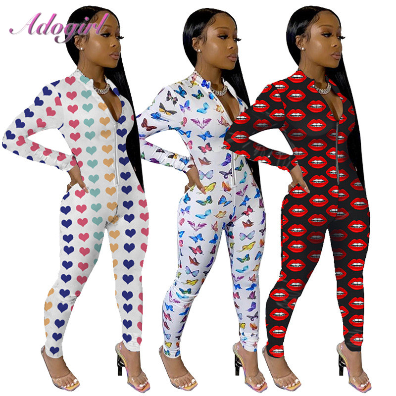 Women Spring Heart Butterfly Print Skinny Jumpsuit Sexy Long Sleeve Zipper Bandage Night Party Rompers Outfit Street Overalls
