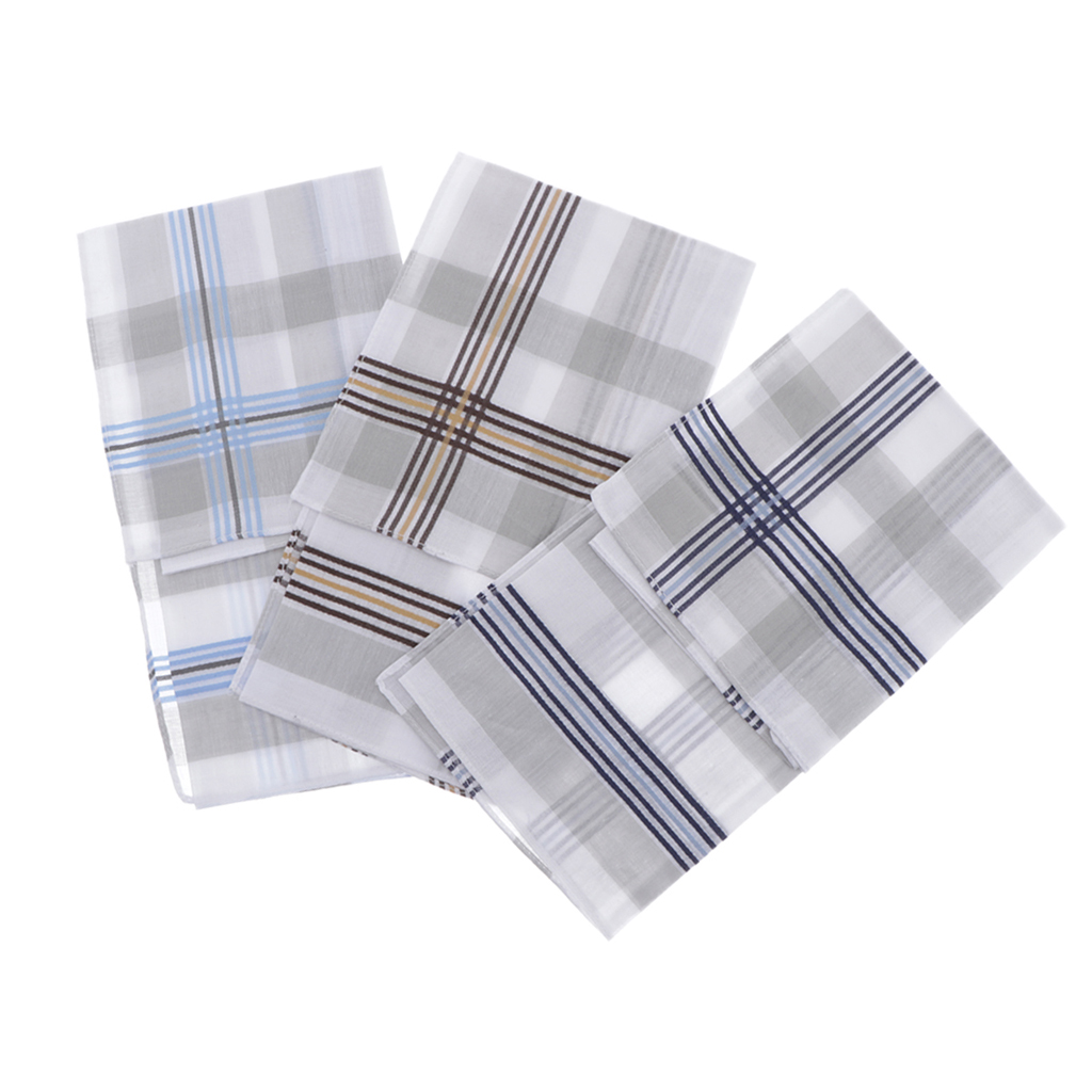 Set Of 3 Handkerchiefs 100% Cotton High Quality Plaid Pattern For Wedding Party, Holidays