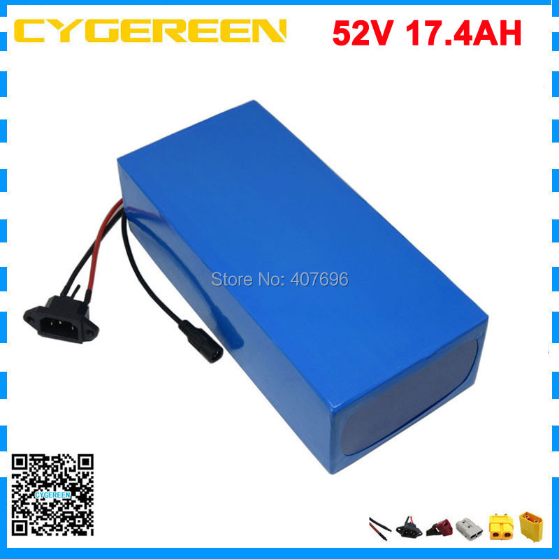 1500W 14S 52V 17AH batterie au lithium 51.8V 17.4AH vélo électrique Ebike batterie 29PF 18650 cellule avec 30A BMS 58.8V 2A chargeur