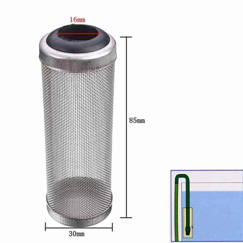De Metal Em Aço Inoxidável de alta Qualidade Tubo de Filtro Aquário Filtro Inflow Entrada Basket Mash Camarão Guard Proteja