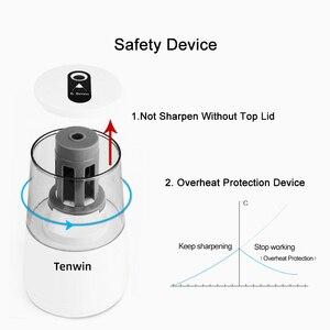 Image 5 - Tenwin kırtasiye otomatik elektrikli kalemtıraş USB ağır hizmet mekanik konteyner ile çocuklar için pil Ten Win