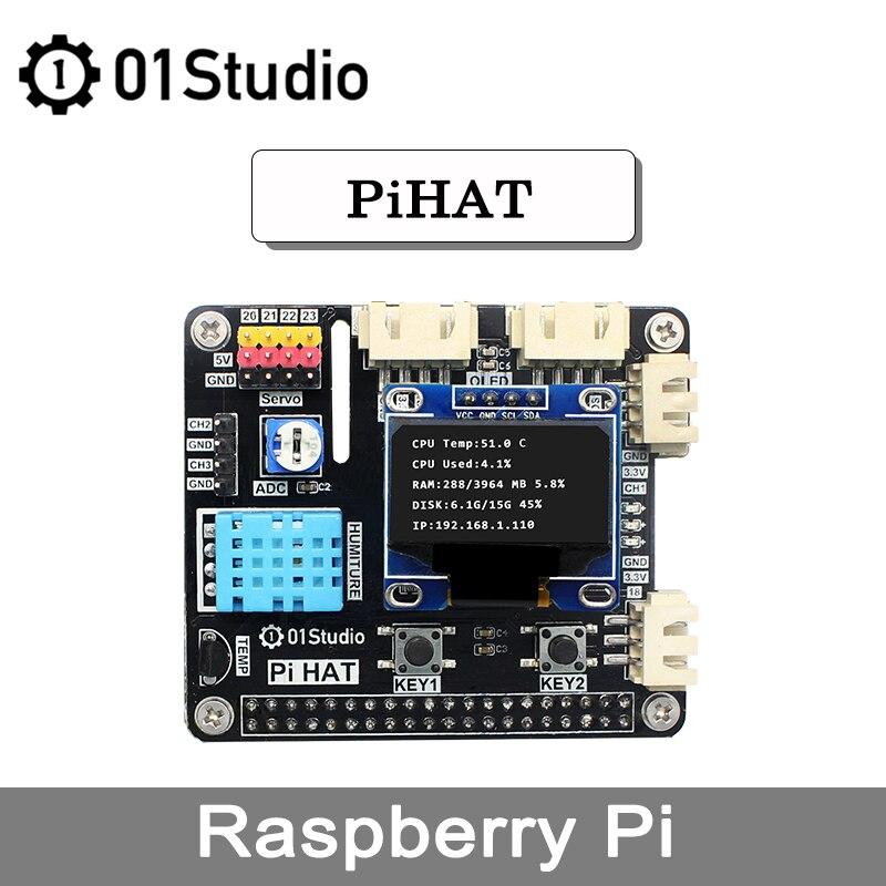 01Studio PiHAT Raspberry Pi 4 3B + 4B Development Demo Плата расширения модуль программирования Python 2G 4G 8G