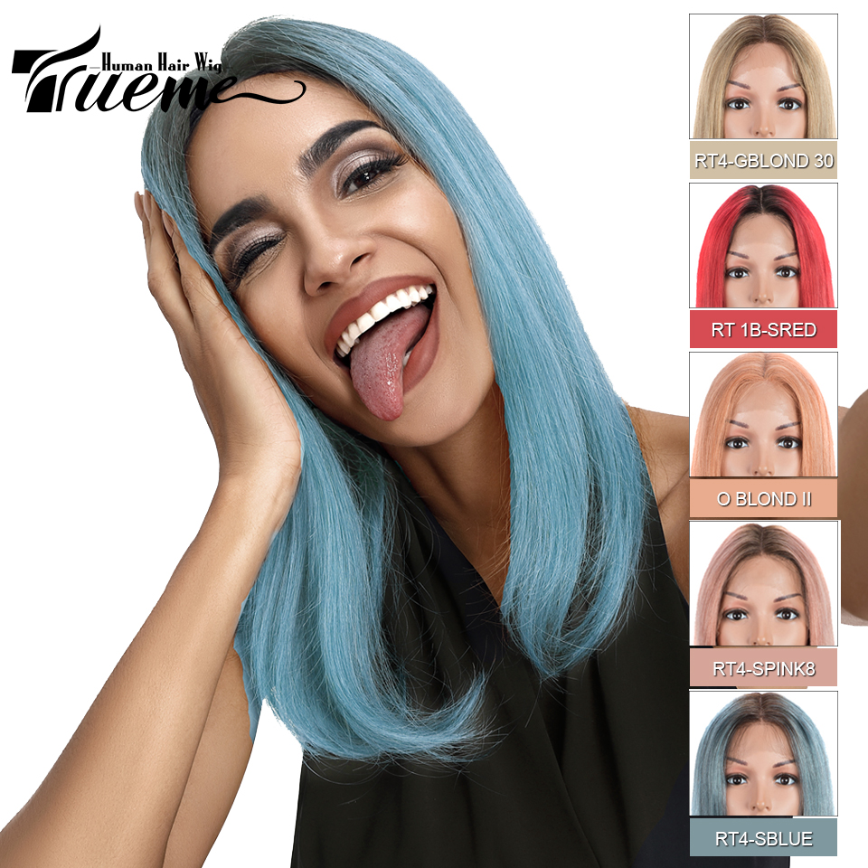 Trueme 12 Inch Short Bob Middle Part Lace Front Wig Ombre Silver Red Blue Golden Orange Blonde Lace Front Human Hair Wigs