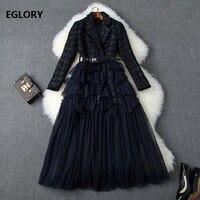 Top Quality 2019 Autumn Winter Dress Women Notched Collar Cascading Ruffle Mesh Patchwork Long Sleeve Mid Calf Length Wool Dress