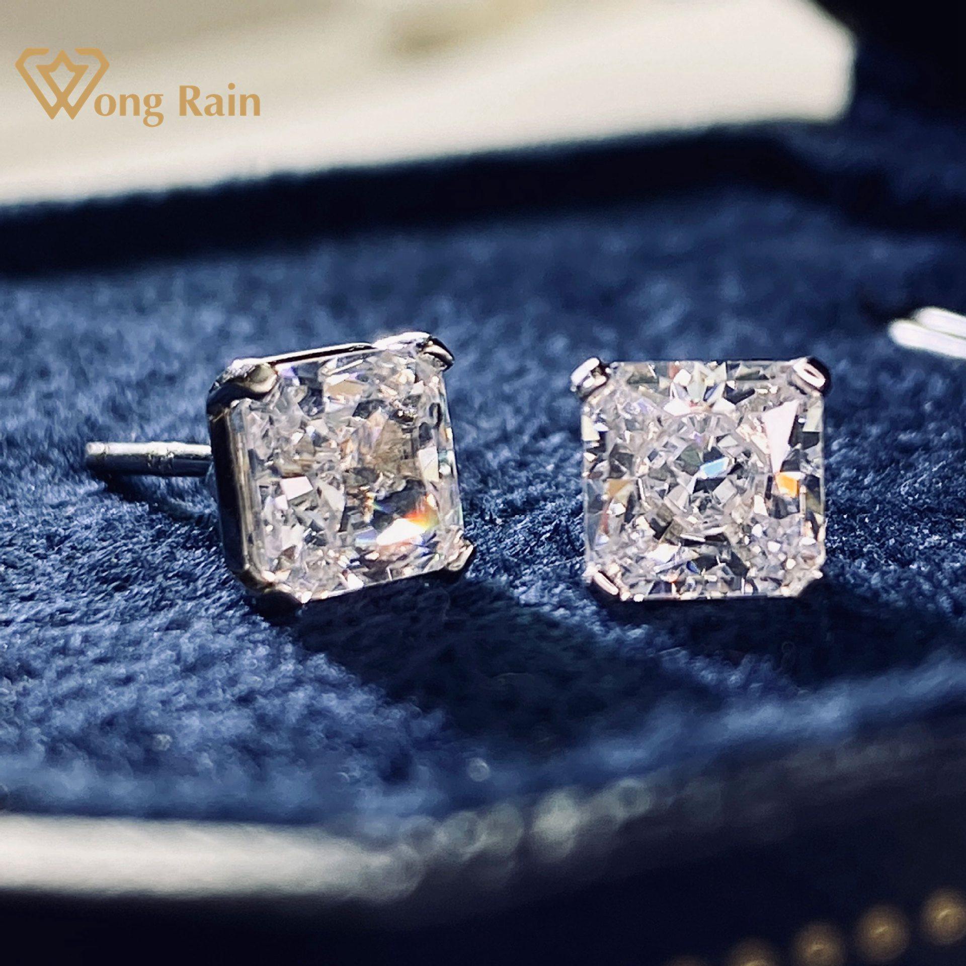 Wong Rain 925 en argent Sterling créé Moissanite diamants pierres précieuses de mariage fiançailles bijoux fins boucles d'oreilles boucles d'oreilles en gros