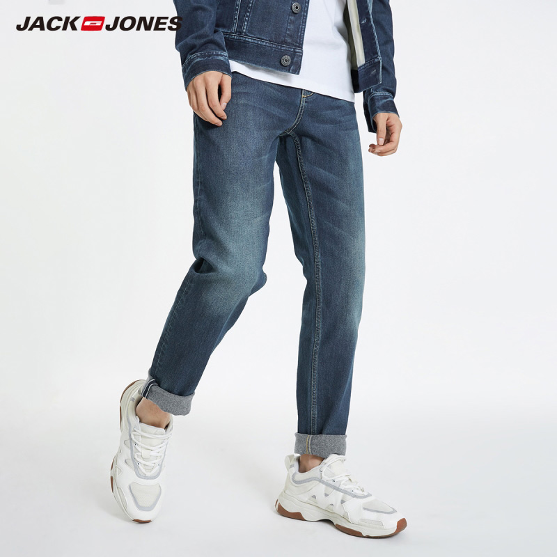 JackJones Men's Slim Fit Thermal Fabric Tapered Leg Jeans Streetwear 219132545