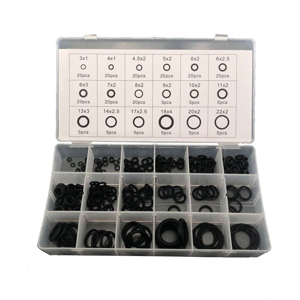 225pcs/set 18 Sizes Seal O-ring Set R22 R134A Air Conditioning O-Ring Rubber Washer Assortment Kit PL Car Accessories