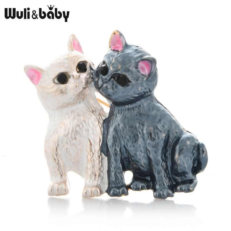 Wuli & ベビーエナメルカップル猫ブローチ女性男性合金 2 色猫動物パーティーカジュアルブローチピンギフト
