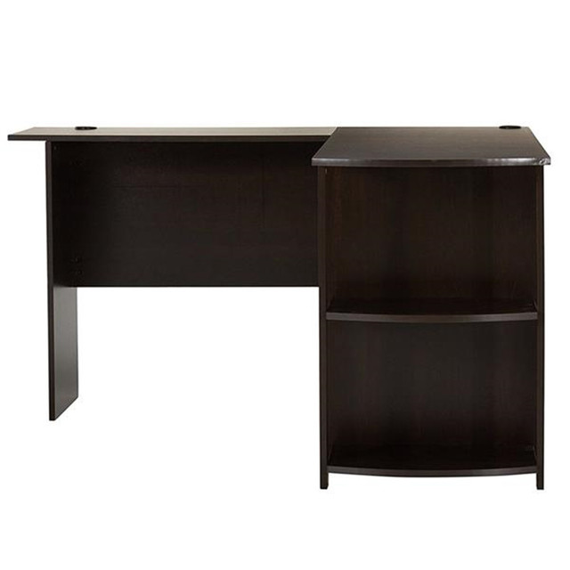 L-Shaped Wood Computer Desk w/ Two-layer Bookshelves  2