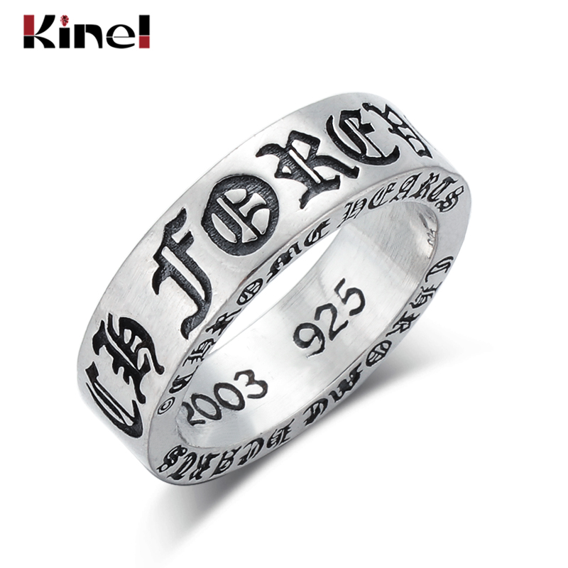 Kinel S925 sterling silver wide ring jewelry hot retro personality tide adjustable European and American stars gothic cross ring