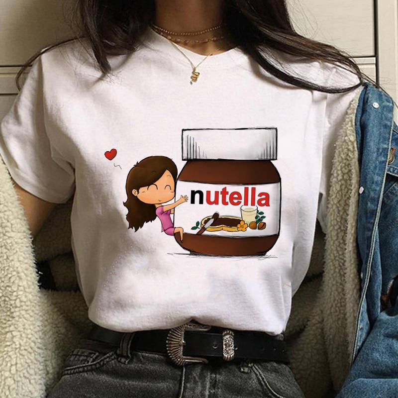 Kawaii Nutella Print T-Shirt 90s Ullzang Fashion Women's t-shirts Harajuku Summer Women's sweatshirt Tee Tops Oversized T-shirts 5