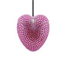Nette Verdrahtete Maus Rosa Diamant Entwickelt Liebe Mini Mause Optische 1000DPI USB 3D Computer Büro Kreative Mäuse Gilr Geschenk für Laptop