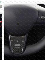 Carbon Fiber Effect Steering Wheel Down Badge Sticker Emblem for Tesla Model 3