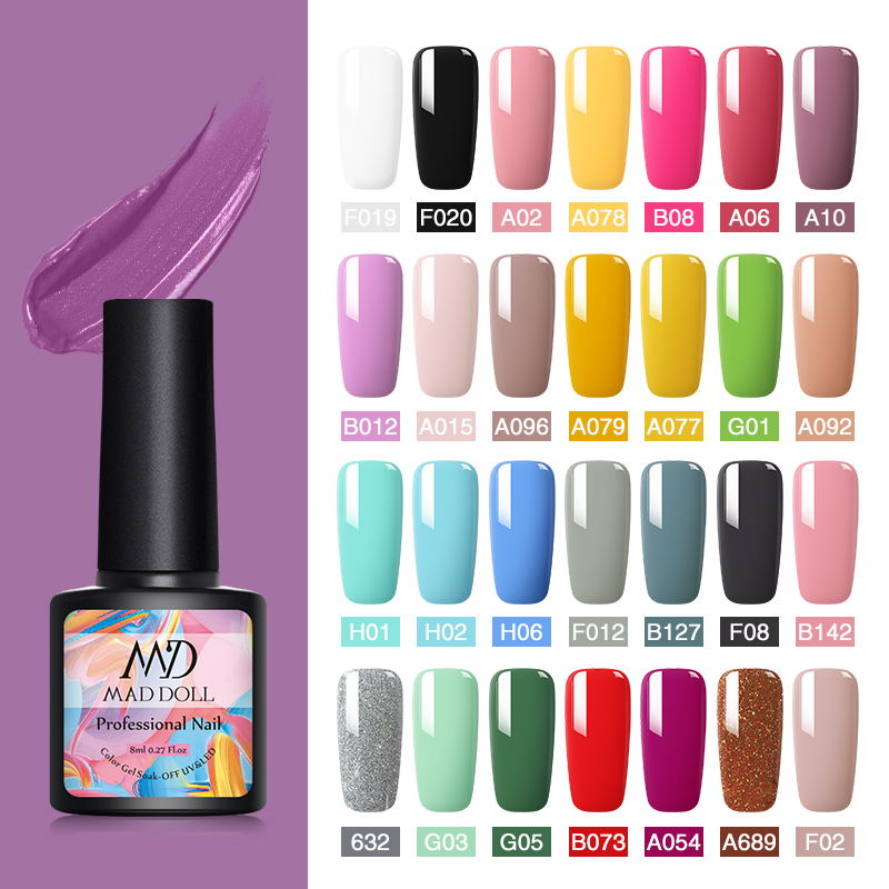 MAD DOLL 8ml Gel Nail Polish Colorful Series UV Gel Soak Off Gel Polish Varnish Permanent Top One-shot Color Nail Art DIY Design(China)