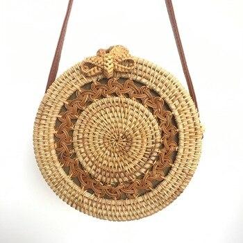 Hot Sale 2020 Round Straw Bags Women Summer Rattan Bag Handmade Woven Beach Crossbody Bag Circle Bohemia Handbag