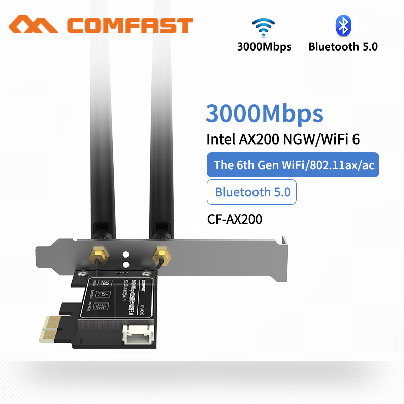 3000Mbps Dual Band 2.4G/5G Intel <font><b>AX200</b></font> Wifi 6 PCI-E PCI Express Wifi <font><b>Adapter</b></font> Bluetooth 5.0 Network Card 802.11ax For Desktop PC image