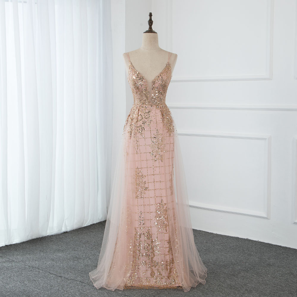 YQLNNE 2020 Sexy Straps Long Prom Dresses Sparkly Rose Gold Crystals Tulle Sweet Party Dress Backless