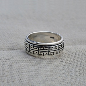 Image 2 - Real Silver ring 925 Sterling Silver ring men women S925 Ring Rotate Vintage Ring Jewelry gift Great Wall Movable S925 Ring Band