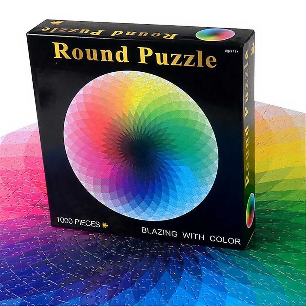 1000 Pcs/set Colorful Rainbow Round Geometrical Photo Puzzle Paper Adult Kids DIY Jigsaw Puzzle Educational Reduce Stress Toy