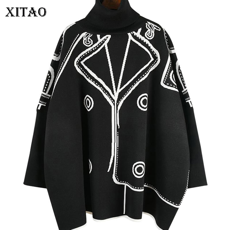 XITAO Geometrical Sweater Knitted Straight Turtleneck Full Sleeve Elegant Small Fresh Casual Batwing Sleeve Sweater XJ2670